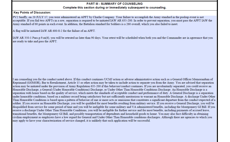 Sample Apft Failure Counseling Army Board Questions